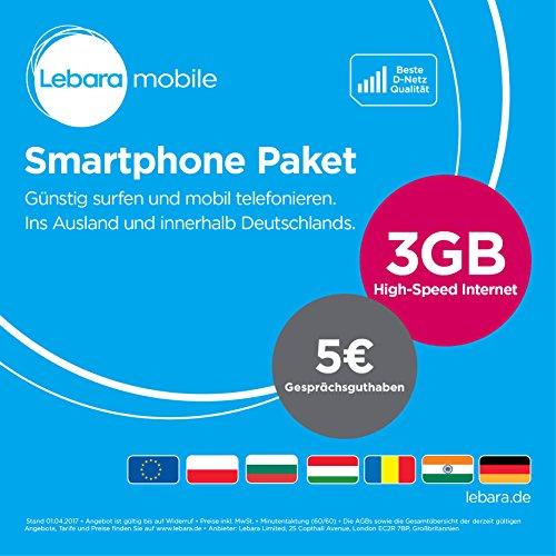 Lebara Smartphone Paket  [SIM, Micro-SIM und Nano-SIM] monatlich kündbar (1GB High-Speed Internet, 5 EUR Gesprächsguthaben) in D-Netz Qualität