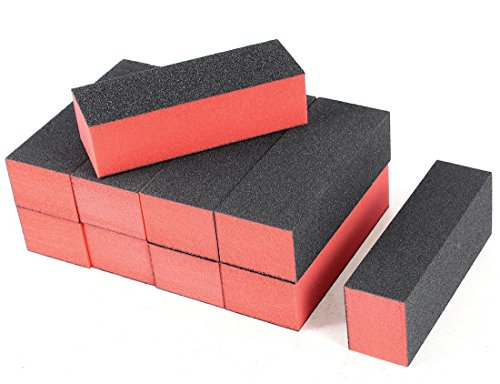 10x Demarkt Polierblock Buffer Nagelpolierblock Nagelfeilen Schwarz und Rot 9.5x3.5x2.5cm