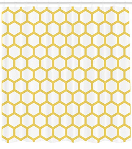 Nyngei Gelb und Weiß Duschvorhang Sechseckige Muster Waben Bienenstock Simplistic Geometrical Monochrome Stoff Badezimmer Dekor Set mitGelb Weiß