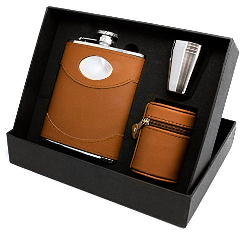 Personalised Engraved 6oz Brown Spanish Leather Hip Flask Gift Set