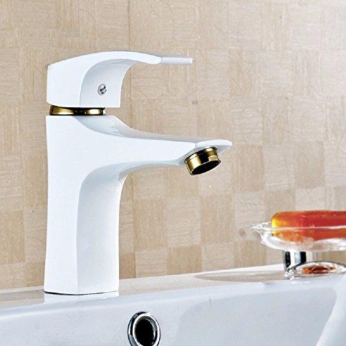 SADASD Grifo lavabo de antigüedades europeas de cobre chapado en oro blanco grifo del baño salud accesorios de fontanería cuenca (agua fría y caliente?