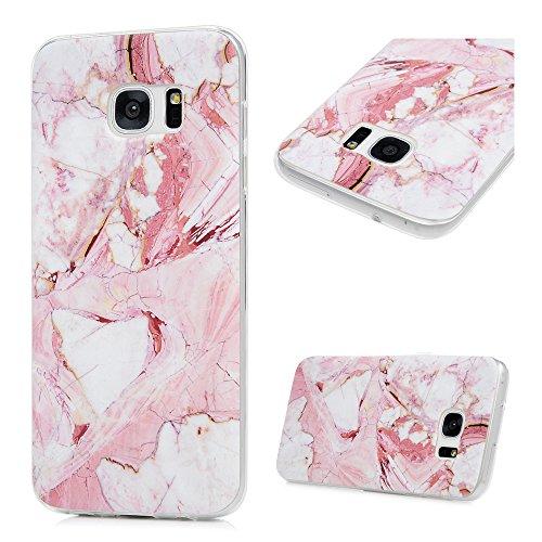 S7 Edge Marmor Hülle, KASOS Marble Handyhülle : Silikon Case Weich TPU Huelle mit IMD Technologie für Samsung Galaxy S7 EdgeRose weiß