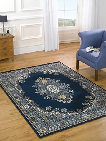 Traditional Classic Design Navy Rug in 80 x 150 cm (2'6'' x 5') Carpet