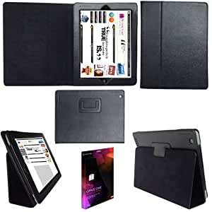 Apple iPad 2, iPad 3 & iPad 4 Premium Folio Leather Case / Cover With MAGNETIC Auto-Sleep Wake & Flip Stand For Apple iPad 2nd, 3rd & 4th Generation - BLACK - Mr Stationary® Range