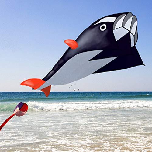 Fliegend Drachen Großes 3D eine Schnur Delfin Sport Fliegend Drachen Outdoor Spiele Spiele - Gute Plan Memorable Sommer Spaß (1,2 M by 2.1mblack) - Schwarz, 1.2m by 2.1m