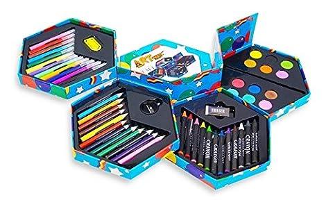 52pcs | Boîte de papeterie pour enfants | Avec feutres, crayons de couleur, peintures, taille-crayon, gomme etc. | Valeur exceptionelle ! [version:x10] by DELIAWINTERFEL