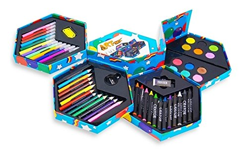 52 pz, Caja papelería niños, marcadores, crayones