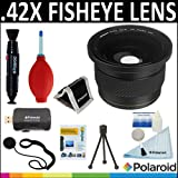 Polaroid Studio Series Super Fisheye .42 x HD &Kit de nettoyage d'objectif pour Sony Alpha NEX-C3 NEX - 7 NEX - 5N NEX - 5 NEX - 3 Pédale Digital SLR appareils Sony E Series Objectif 18–200 mm)