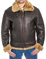 Para hombre de Brown aviador B3 piel de oveja chaqueta de piloto WW2 del vuelo con la piel de jengibre