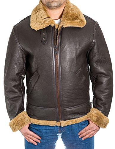 Hommes B3 100% 100% peau de mouton Pilot WW2 Veste de bombardier volant brun peau de mouton