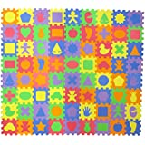 24 Unique Shapes Educational Foam Puzzle Floor Mat for Kids + 72 Pieces, 6x6 Squares Blocks, Covers 12 sq ft by Liberty Imports