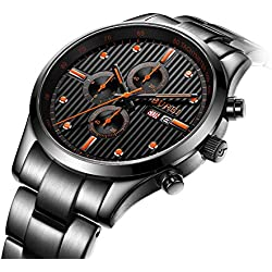 BUREI Mens Luxury Black Chronograph Wrist Watches Designed with TACHYMETER and Day Date Calendar