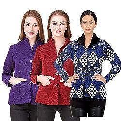 Kritika World Womens Wool Cardigan Dress (COAT_NHRU_PURPLE_MAROON_COAT2_BLUE_Purple Maroon Blue_Medium)
