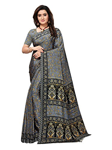 Varayu Women's Abstract Printed Crepe Casual Wear Saree with Unstitched Blouse Piece(Grey,762SJ15)