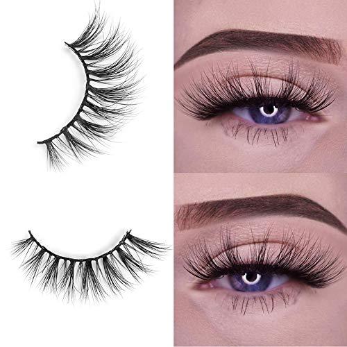 e Wimpern Natürlichen Look Handgemachte Crisscross 3D Wiederverwendbar 1 Paar Künstliche Wimpern Dicken Augen Wimpern ()