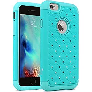 iPhone 6S Case, iPhone 6 Case, Tauri [Dual Layer] Studded Rhinestone Crystal Bling Hybrid Armor Defender Case Cover For (4.7 inch) Apple iPhone 6S (2015) & iPhone 6 (2014) - Mint