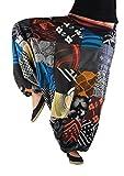 virblatt Haremshose Damen mit traditionellen Webereien UNISEX Einheitsgröße S - L Aladinhose Damen mit handgemaltem Muster alternative Kleidung- Patchwork