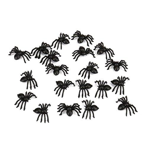 Giocattolo di Halloween KOLY 50pcs Giocattolo di trucco di ragno di plastica Party Halloween Haunted Decorazione House Prop (Black)