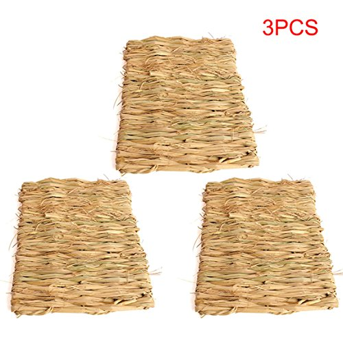 Natürliche Matratzenauflagen (3Hamster Kaninchen handgefertigt Woven natürlichem Seegras Matte Kauen Spielzeug)