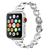 Moretek Apple Watch Strap 38mm, Stainless Steel Wrist Straps Replacement with Durable Folding Metal Clasp Featuring Crystals Inset at Wristband for Apple Watch Women Accessories Band - 38MM Silver