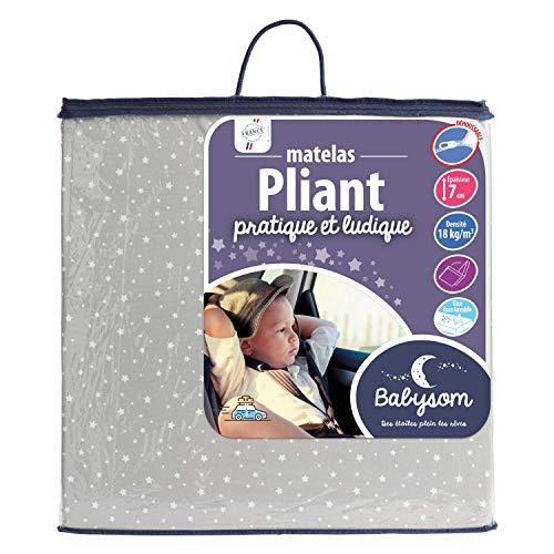 Babysom - Matelas Bébé Pliant - 60 x 120 x 7 cm - Idéal pour couchage d'appoint - Pliable de...
