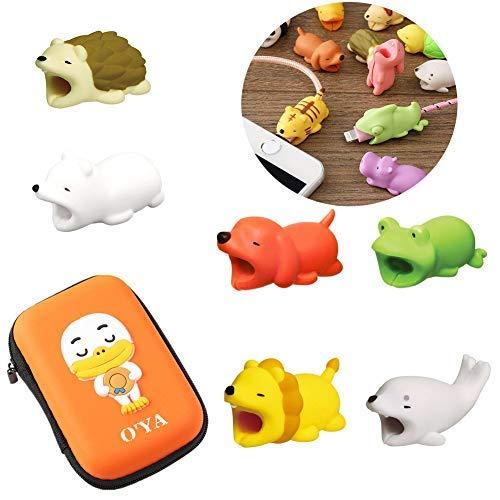 8 x USB-Kabel-Schutz mit Kabel-Organizer-Box, niedliches Tier-Kabel-Biss verhindert das Abklemmen, Handy-Zubehör schützt Kabelwickler, Organizer, 1,5 x 2 x 40 mm - Niedlich Handy