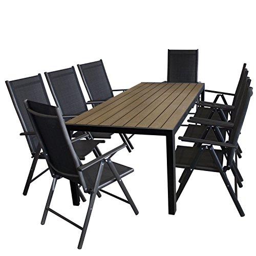 9tlg. Gartengarnitur Aluminium Gartentisch, Tischplatte Polywood Braun, 205x90cm + 8x Aluminium Hochlehner, 2x2 Textilenbespannung, Rückenlehne in 7 Positionen verstellbar, schwarz - Gartenmöbel Set Sitzgarnitur Sitzgruppe