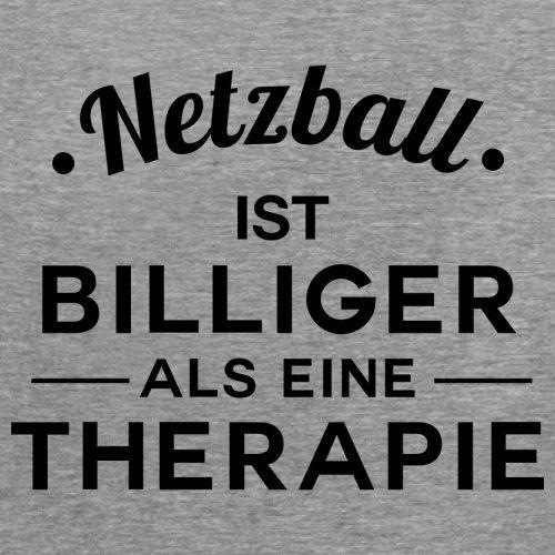 Netzball ist billiger als eine Therapie - Damen T-Shirt - 14 Farben Sportlich Grau