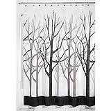 mDesign cortina de baño antimoho - Cortina ducha de 180 cm x 200 cm - Cortina bañera impermeable color gris / negro - Modelo árboles