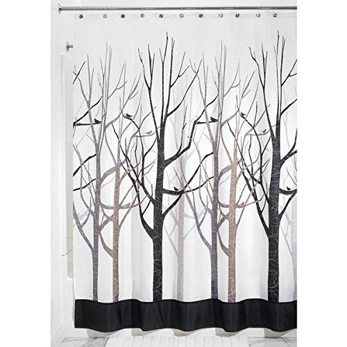 Mdesign tenda doccia antimuffa - 180 x 200 cm - tenda colore nero e grigio - tenda per doccia e per vasca - montaggio facile - fantasia bosco