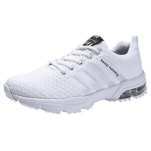 Damen Herren Laufschuhe Sportschuhe Turnschuhe Trainers Running Fitness Atmungsaktiv Sneakers(Weiß,Größe 44)