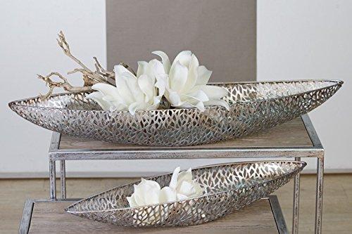Casablanca Design Deko Schale 'Purley' + Blüten, 3-teiliges Set, 60 cm, antik-silber