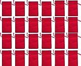24 Baumwoll-Säckchen, Baumwollbeutel rot, 15 x 10 cm, Advent