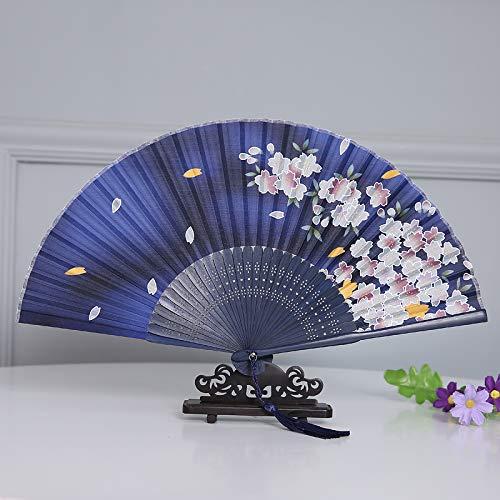 XIAOHAIZI Handfächer,Sommer Chinesischen Stil Frauen Bambus Fan Dunkel Blau Hohl Kirschblüten Vintage Faltfächer Geeignet Für Hochzeit Dame Geschenk Tanz Fan U-Bahn - Dunkle Braut Kostüm Kind