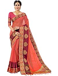 Pisara Women's Banarasi Cotton Silk Saree With Blouse Piece,Peach
