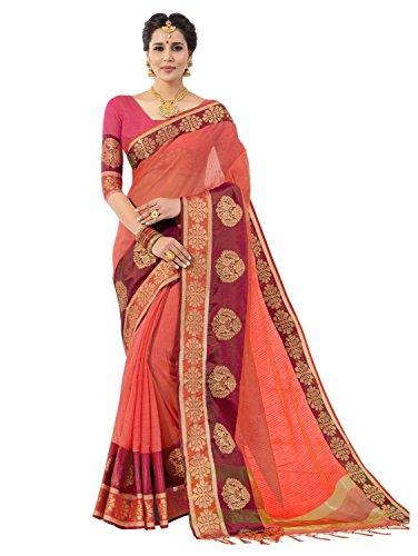 Pisara Women's Banarasi Cotton Silk Saree With Blouse Piece,Peach