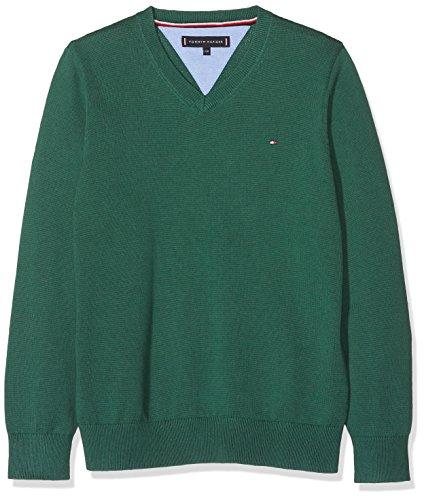 Tommy Hilfiger Jungen Pullover Essential Organic V-Neck Sweater, Grün (Hunter Green 395), 164 (Herstellergröße: 14)