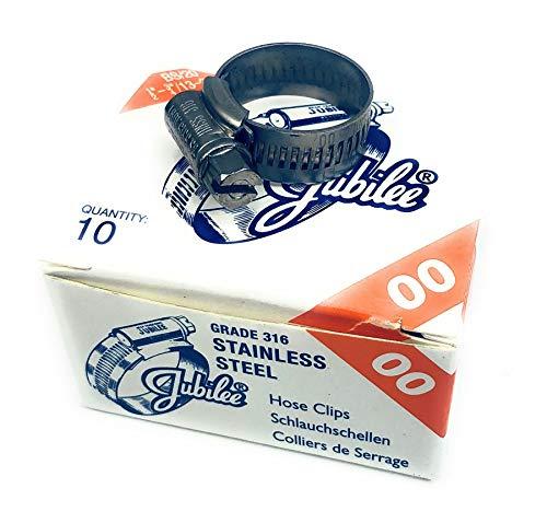 10 Stücke Jubilee® Schlauchschellen mit Schneckenantrieb, Spannbereich Marine-Stahl SS316, 13-20mm