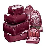 مجموعة السفر من Packing Cubes 7 قطع 2 حذاء غسيل كبير منظم مكعبات وحقيبة أدوات يدوية لغسيل الملابس والأبواب وحمالة الصدر والفنادق والتخزين والملابس الداخلية والملابس الداخلية