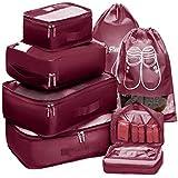 Packing Cubes Travel Set 7Pc 2 Large Cube Organizer Laundry Shoe & Toiletry Bag for Laundry, Blouse, Bra, Hosiery, Stocking,