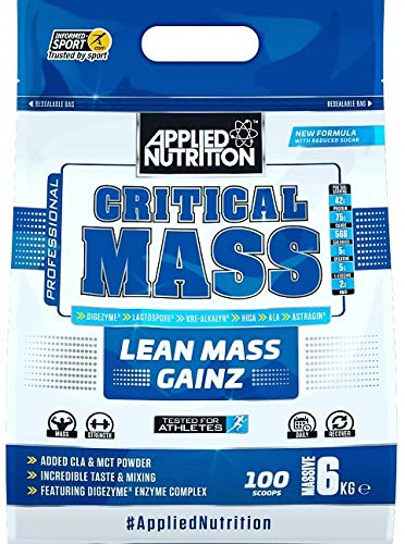 Applied Nutrition Critical Mass Professional Protein Powder, High Calorie Weight Gainer, Low Sugar, Informed Sport Tested, Lean Mass with Creatine, Glutamine, BCAA – 6kg (Chocolate)