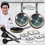 San Ignacio Pixel Pro Cooper Set de 3 sartenes + 4 recipientes herméticos + 3 Utensilios de Cocina, fiambreras