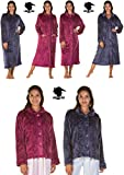 Lady Olga Soft Feel Embossed Fleece Nightwear in 3 Styles Zip Gown, Button Dressing Gown or Bed Jacket