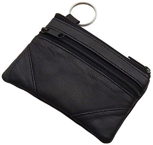 Echt Nappa Ziegenleder Schlüsseltasche mit 2 Reißverschlussfächer - mit RFID Schutz in Schwarz