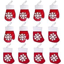 Hemoton 12PCS Navidad Titulares de Cubiertos Premium Tenedor Cuchillo Bolso Durable Mini Guante y Calcetín para