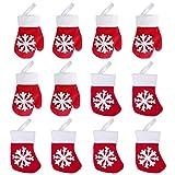 Hemoton 12PCS Navidad Titulares de Cubiertos Premium Tenedor Cuchillo Bolso Durable Mini Guante y Calcetín para Decoración Mesa 13X10 cm