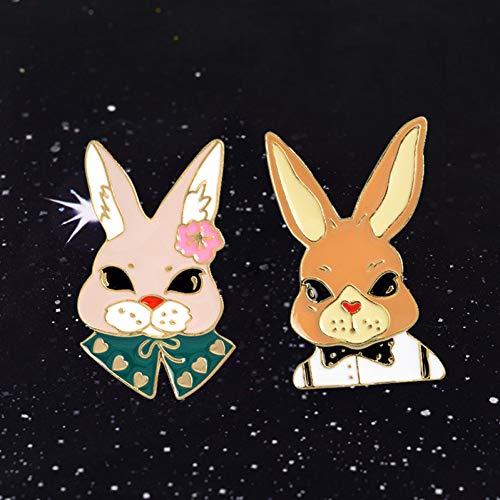 JTXZD Brosche 2 Teile/Satz Cartoon Metall Frau Mr Rabbit Hochzeitseinladung Zubehör Jeans Tasche Revers auf Abzeichen Mode Vintage -