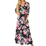 VEMOW heißer Verkauf Sommer Herbst Neue Mode Damen Camisole Langarm V-Ausschnitt beiläufige tägliche Partei Strand Mini Dress Button Mode Kleid(Schwarz, EU-52/CN-XL)