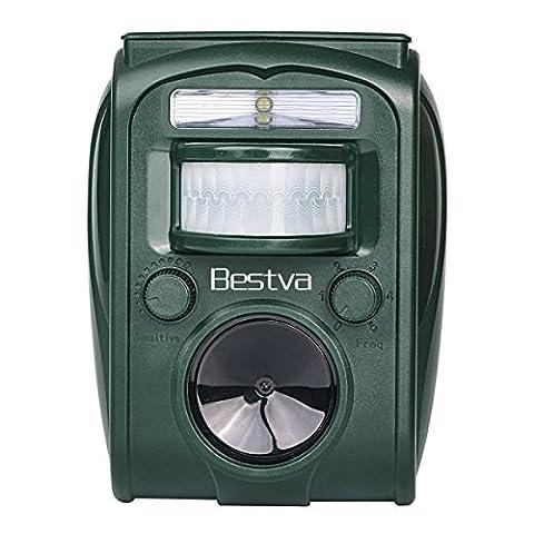 BESTVA Cat Repellent Ultrasonic Solar Battery Operated Animal Repeller Outdoor Waterproof Electronic Cat Scarer Repeller Deterrent-Motion