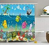 Abakuhaus Duschvorhang, Eine Karikatur Bild Darstellung der Unterwasselebenswelt mit Segelboot Palmen Insel Bunt Druck, Wasser und Blickdicht aus Stoff mit 12 Ringen Bakterie Resistent, 175 X 200 cm